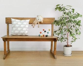 Throw Pillow gray with white Polar Bears · Organic cotton cushion · 15 x 15  · Decorative throw pillow Alaska · Home décor · Insert included
