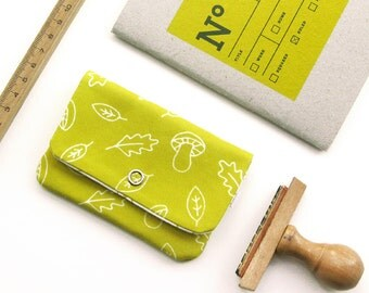 Mini pouch · card holder · mini wallet · A walk in the woods print · organic cotton mini purse · Folk pattern · Acorns & mushrooms pattern