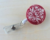 Retractable Badge Reel Holder - Red Damask