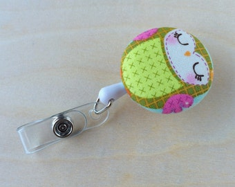 Retractable Badge Reel Holder - Green Patch Owl