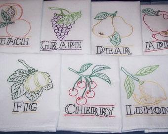 Hand Embroidered-Fruit Tea Towel/Dish Towel Set