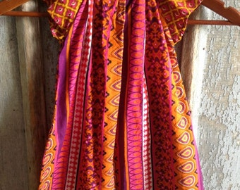 Indian Orange - Peasant Dress Flutter Sleeves - Sizes 3 4 toddler 6 7 8 Years