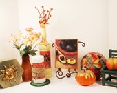 Autumn Collection for Shelf or Mantel, FREE SHIPPING, Colorful Bottles, Photo on Easel, Fruit Tin, Sunny Octagon Box, Pillar Candle