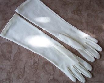 Vintage long ecru off white dress gloves.  New old stock.    C7-275-1
