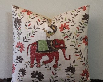 "Duralee Mahout Print - in the Bark Colorway - 16"",18"",20"",22"" or 24"" Square Pillow Cover"