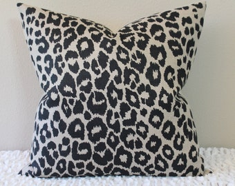 """F. Schumacher Iconic Leopard Print in Ebony/Natural - 16"""" - 22"""" Square and Lumbar Sizes - Decorative Designer Pillow Cover"""