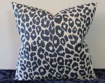 """F. Schumacher Iconic Leopard Print in Ink/Natural - 16"""" - 24"""" Square and Lumbar Sizes - Decorative Designer Pillow Cover"""