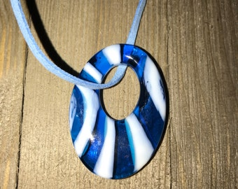 Suede glass pendant necklace