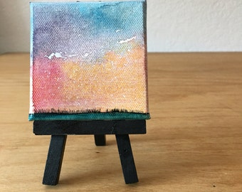 Mini Painting, Night Sky Art, Prairie Grassland, Watercolor Painting, Galaxy Artwork, Constellation, Northern Lights, Landscape Painting