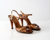vintage 70s Customcraft by Rossi metallic leather shoes, size 7.5