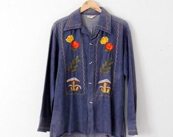 vintage 70s denim shirt / embroidered hippie top