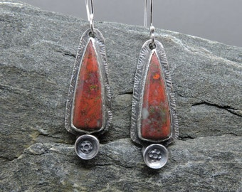 Red Earrings, Sonoran Sunrise Earrings, Sterling Silver, Artisan Made Earrings, Southwest Earrings, Red Dangles, Handcrafted, Made in NH