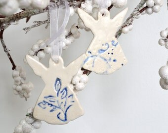 Ceramic Angel Ornaments, Imprinted Cobalt Blue on White, Set of Two 6528