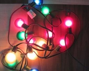 Vintage 70's Large Plastic Christmas Light Bulb String - 14 lights - Chistmas Light Bulbs - Lights - Christmas Decor - Holiday Decorations