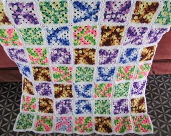 Vintage Multi-Colored Granny Square Knit Afghan Lap Blanket - Coverlet - Crib Blanket - Baby Blanket