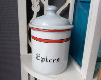 French Vintage Canister / French Enamel Storage Jar Canister/Vintage Kitchen Storage/Kitchen Containers/French Country Decor