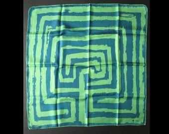 1960s  Vera hand rolled silk scarf / designer / MOD / abstract