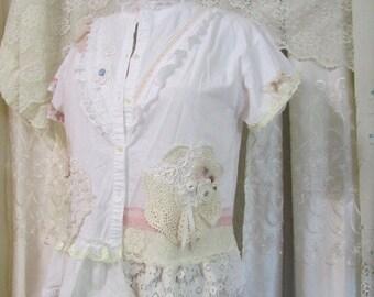 Shabby White Shirt, altered romantic doily lace embellish, shabby cottage chic, womens white cotton blouse
