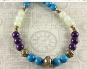 ON SALE Mountain Jade Color Block Necklace, Purple, Turquoise, Sea Green, Gemstone Necklace