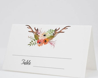 Place Cards, Escort Cards, Folded Tent Cards, Boho Fall Flowers - Rustic Blooms Antlers, Set of 12, Size 2 x 3.5 inches, Printed Cards