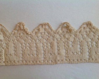 Vintage tatting crochet trim for sewing and mixed media projects