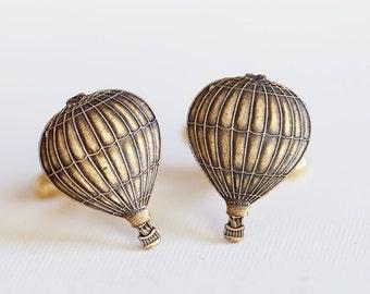 Hot Air Balloon Cufflinks Brass Metal Vintage Inspired Style Antiqued Finish Men's Cuff Links & Accessories
