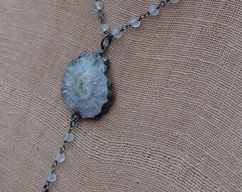 Solar Quartz in Sterling Silver Necklace