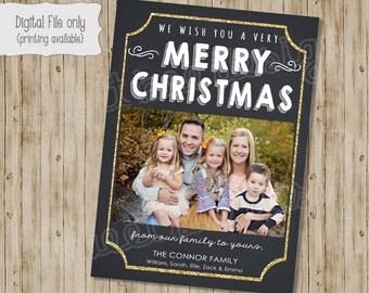 Christmas Photo Card, Christmas Card, Photo Christmas Cards, Photo Holiday Cards, Holiday Cards, Chalkboard, Gold Glitter, Glitter Christmas