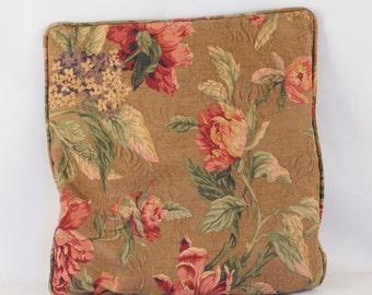 Vintage 1940s - 1950s Floral Sofa Pillow