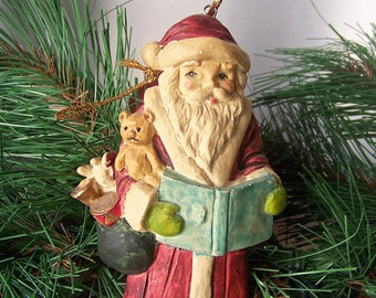 Vintage Santa Claus Resin Hanging Ornament Saint Nick Bag of Toys Holiday Decor ca.1988