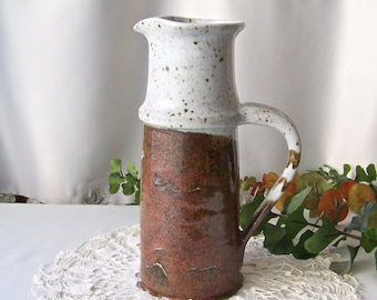 Vintage Pottery Earthenware Hand Thrown Pitcher Autumn Brown Pottery 1980s