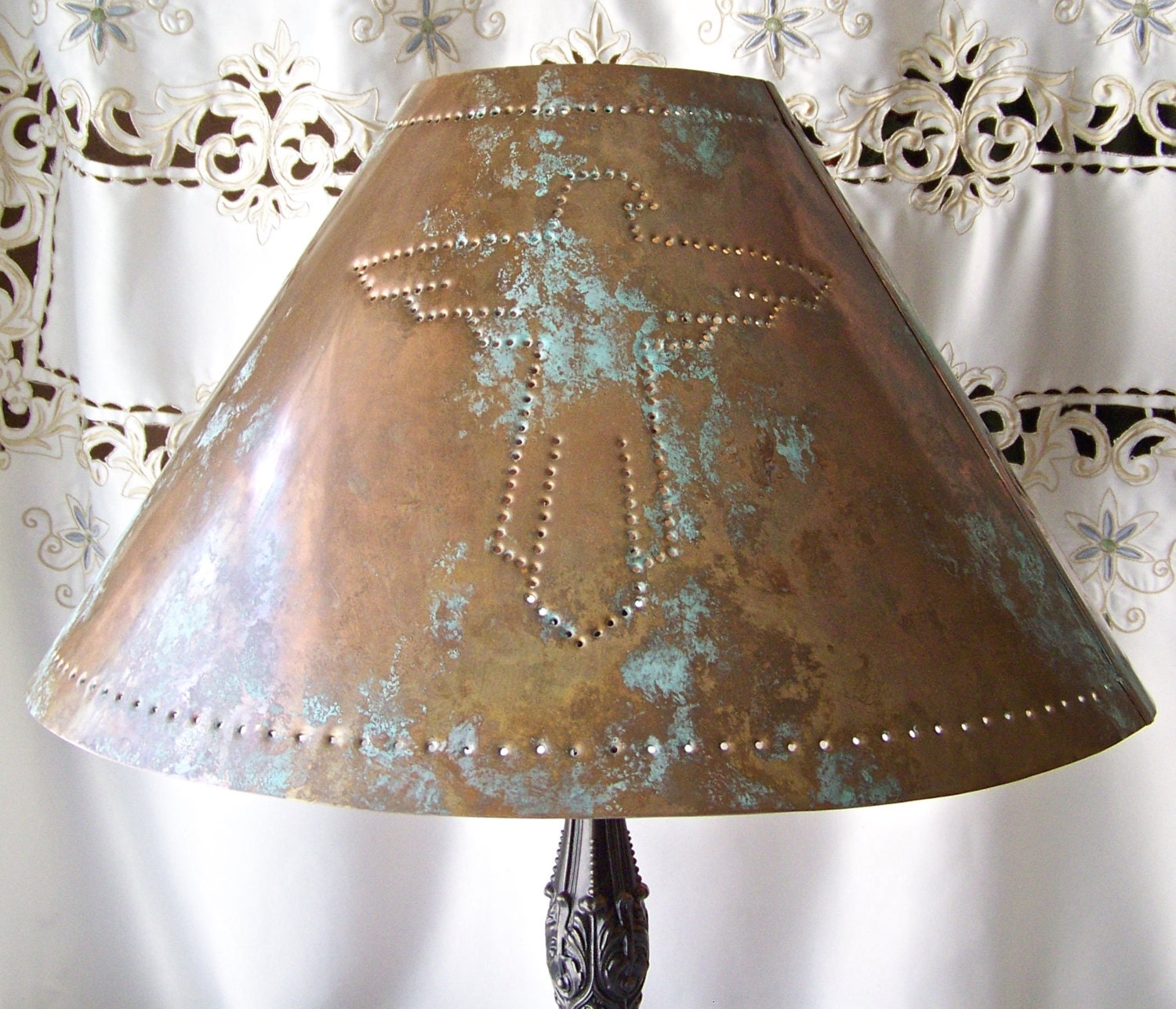 Vintage Copper Lamp Shade Thunderbird Hand Punched Southwest