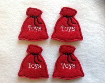 SANTA TOYS BAG Felt Embellishments / Appliques - Set Of 4 - Ready To Ship
