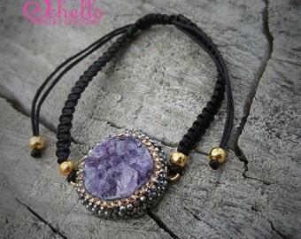 Bohemian Macrame woven Bracelet Amethyst Gemstone Accented with Swarovski Crystal