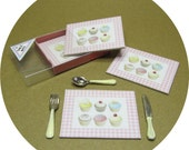 Cupcake tablemats with a display box, dollhouse miniature.