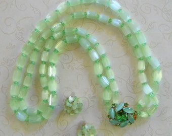 1960's Green Glass Bead Necklace & Matching Earrings