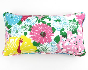 Lilly Pulitzer Heritage Floral Pillow with Self Welting (Both Sides-Shown in Multi, comes in 3 colors)