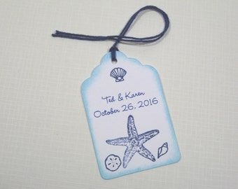 10 Personalized Navy Blue Aqua Beach Seashore Seashell Tags - Destination Wedding - Bridal Shower Tags - Tropical Wedding - Thank You Tags