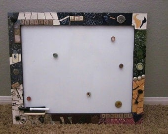 Custom Mosaic Framed dry erase board, white board,