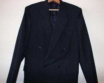 Vtg Navy Wool Gabardine Double Breasted Blazer Mens Size 39 to 40 R