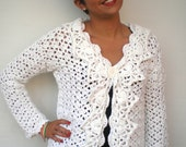 Off White Lace Garden Cardigan Trendy Hand Crocheted Woman Sweater Tunic  Cardigan NEW