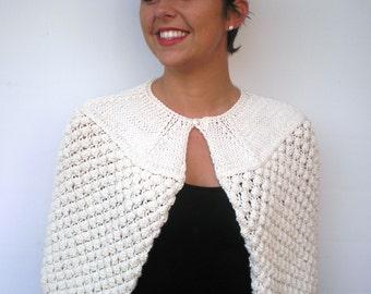 SALE Cream Shoulder Warp Super Soft Merino Wool capelet Woman Capelet