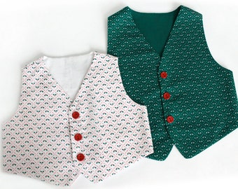 Christmas toddler vest White Holly in 12 months and Green Holly 5T