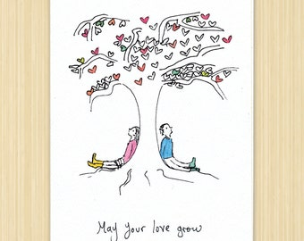 Wedding card, Wedding greeting card, May Your Love Grow, recycled paper eco greeting card, love card
