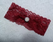 "Wedding garter,Red lace bridal garter,Burgundy/Wine wedding garter,Vintage style garter,Wedding accessory,MANY COLORS, measure 2"" above knee"
