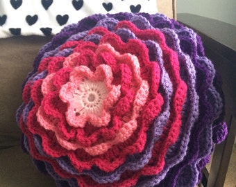 Crochet Pillow / Handmade Pillow - Round / Purple and Pink Pillow / Crochet Bloom Pillow / Flower Petal Pillow / Home Decor / Ready to Ship
