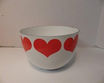 Vintage Finel Arabia Hearts Bowl Mid Century Modern Enamelware