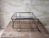 Vintage Black Stacking Wire Desk Trays In and Out Box