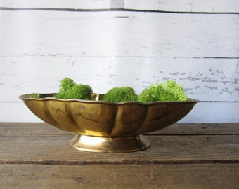 Hollywood Regency  Brass Planter -Small Footed Bowl -