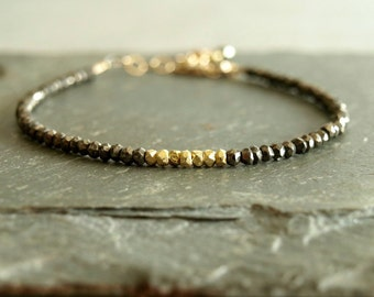 Gold and Pyrite Bracelet, natural pyrite beads, 14k goldfilled and 14k gold vermeil, faceted stones, stacking layering bracelet, real pyrite